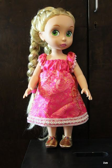 "Disney Baby Doll Clothes Pink Red Flowers Dress Clothing Animator/'s 16/"" NO DOLL"