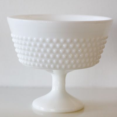 Milk White Hobnail Flared Compote