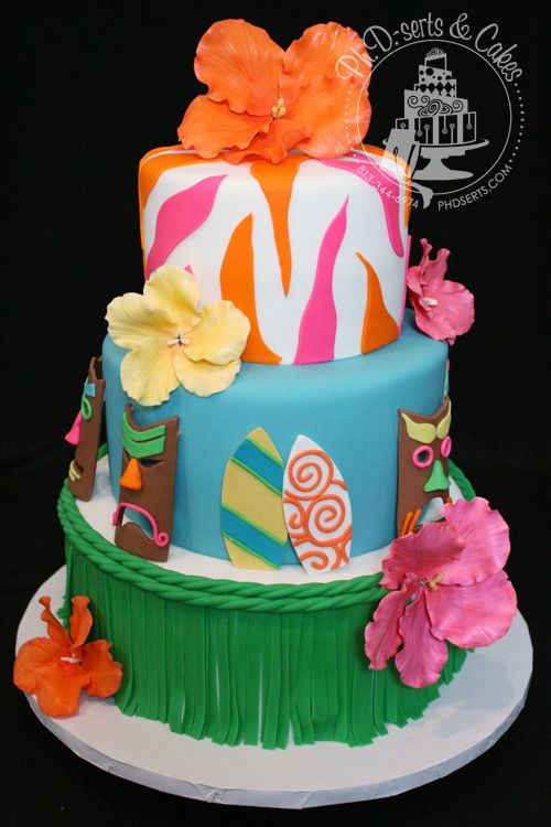 Luau Themed Party Cake Covered And Decorated With Fondant All Decorations You See