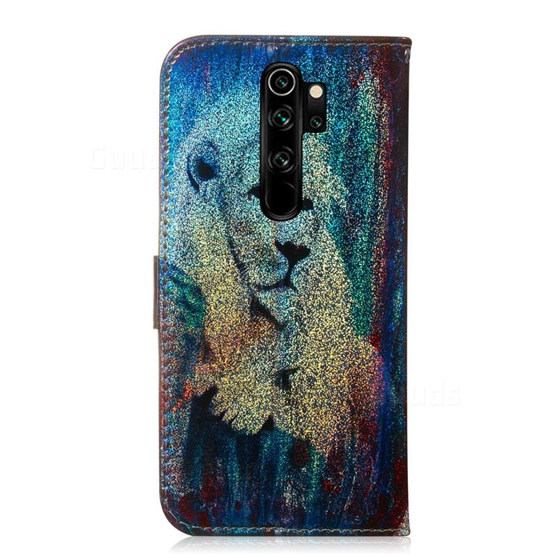 White Lion Laser Shining Leather Wallet Phone Case For Mi Xiaomi Redmi Note 8 Pro Xiaomi Redmi Note 8 Pro Cases Guuds Wallet Phone Case Leather Wallet Phone Cases