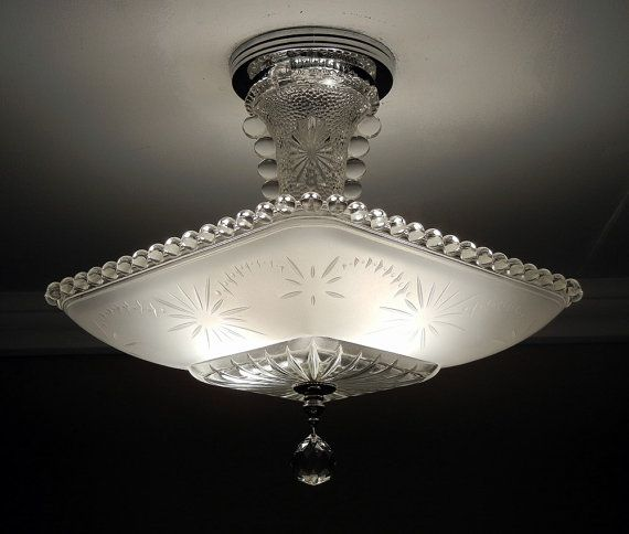 Antique chandelier 1930 vintage deco nouveau fleur de lis glass ceiling light fixture rewired