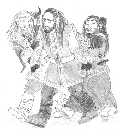 dreadelion: i bet frerin and dis always had to drag thorin out because he'd forget to do anything but be serious and study and worry over his duties as the heir otherwise ;;w;;