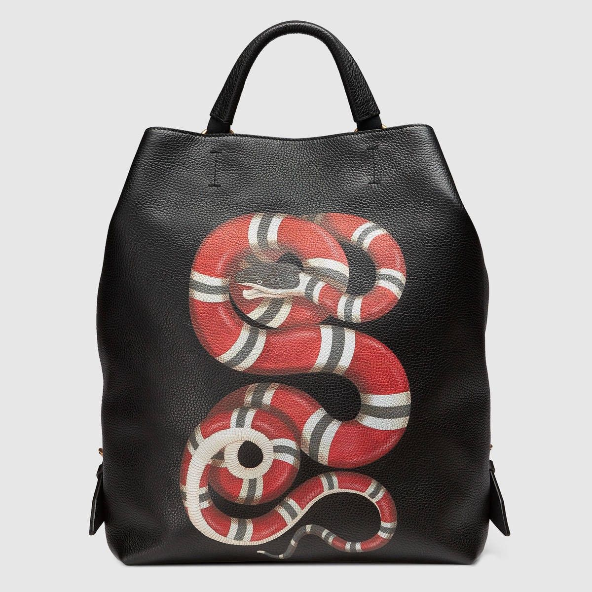 02c64c77 GUCCI Kingsnake print leather backpack - black leather. #gucci #bags # leather #lining #backpacks #linen #cotton #