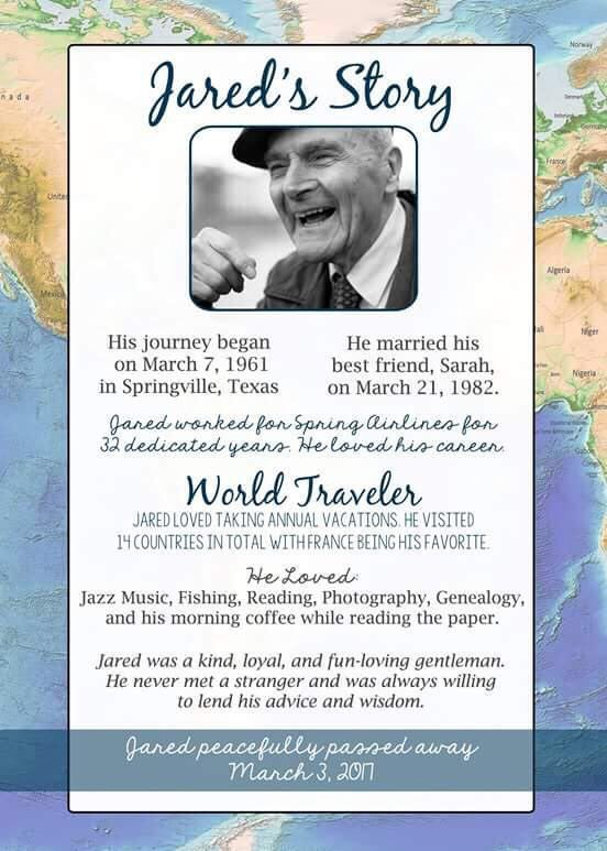 Funeral Memorial Service Program Map Theme Traveler In   Funeral  Announcement Template Free  Funeral Announcement Sample