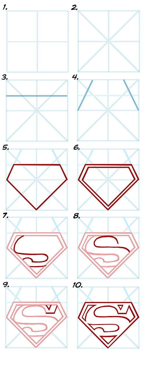 Drawing supermans s emblem in 10 steps
