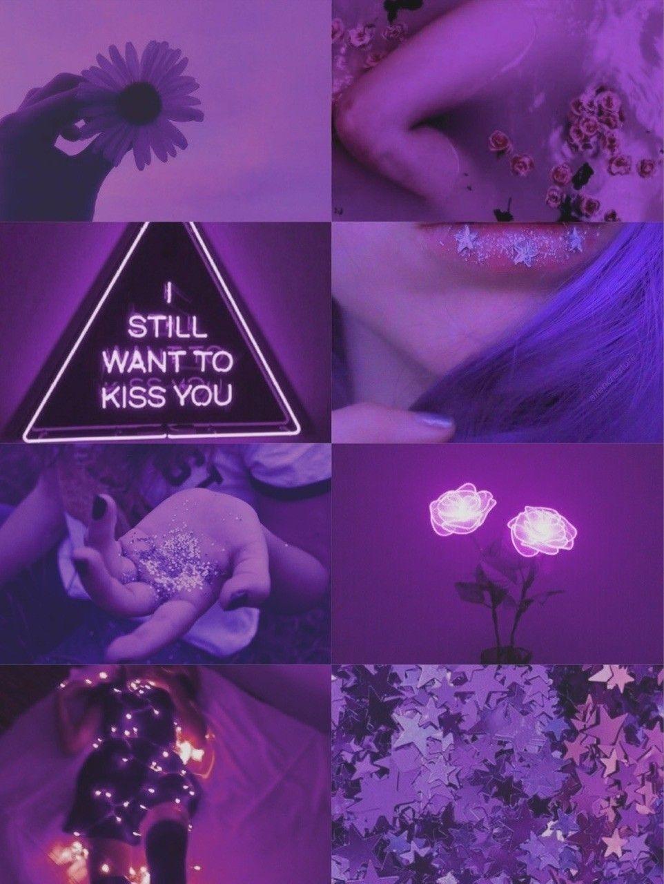 Purple Neon Aesthetic Collage