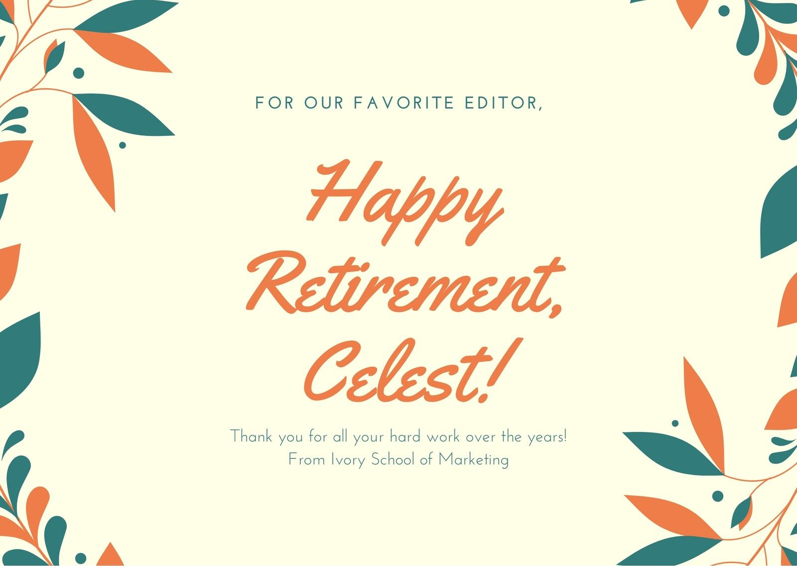Orange Dark Teal Illustrated Wreath Retirement Card For Retirement Card Template Business Prof Happy Retirement Cards Retirement Cards Funny Retirement Cards