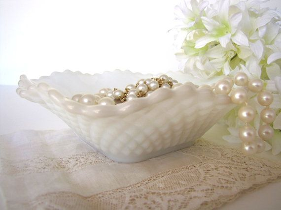 Hobnail Milk Glass Dishes Bowls Set Vintage from by AllieEtCie, $16.00