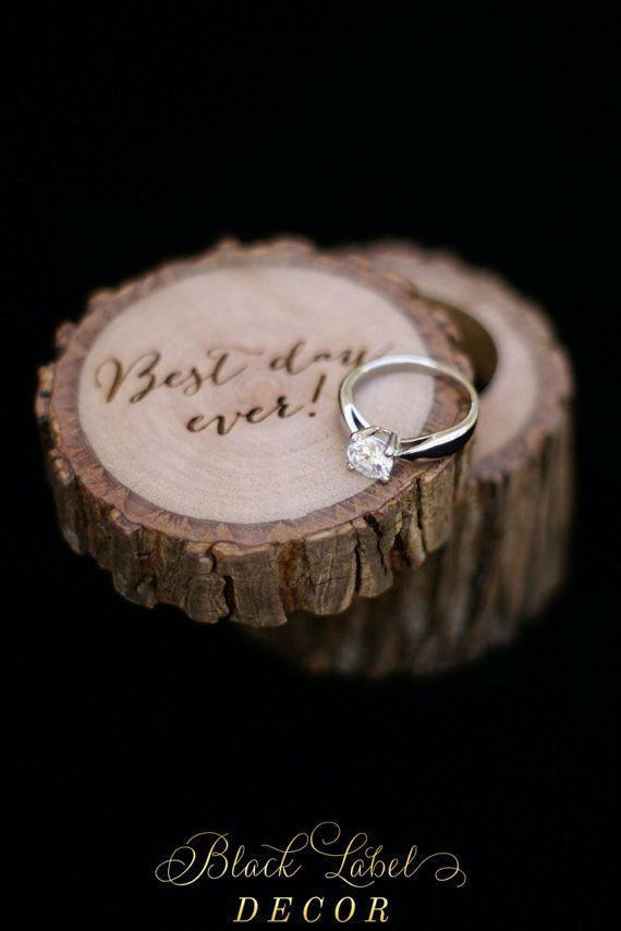 Best Day Ever Engraved Hickory Tree Stump Ring Bearer Pillow Alternative Ring Bearer Wedding Wood Wedding Ring Wooden Rings Engagement