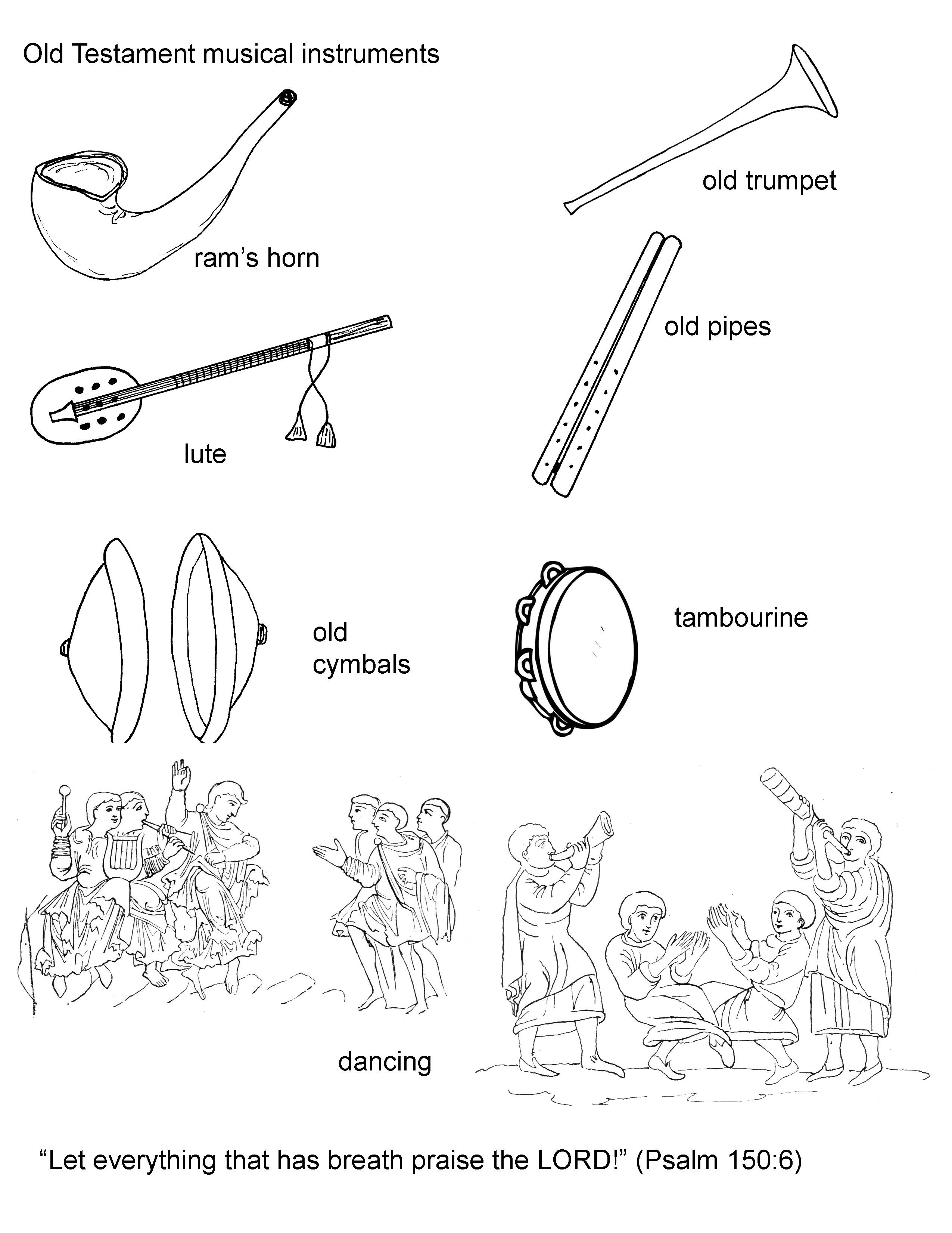 coloring page of old testament hebrew musical instruments horn
