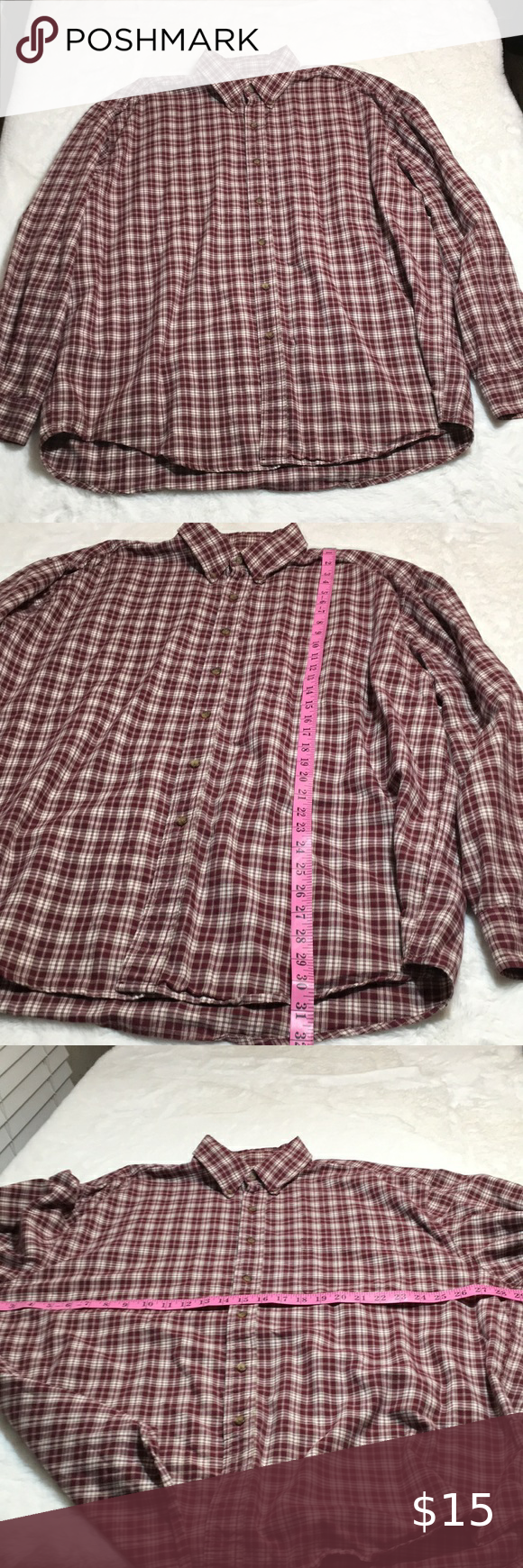 Eddie Bauer long sleeve button up shirt size XXL in 2020