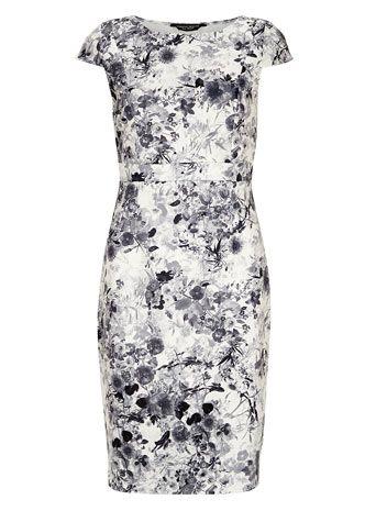 Black and white floral neoprene dress
