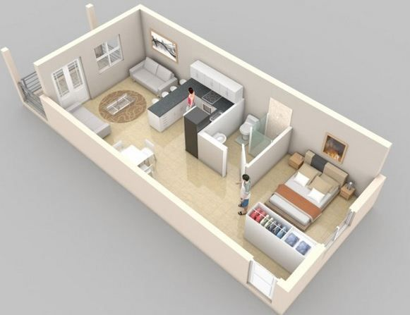 Plano de departamento rectangular Apartaestudio Pinterest