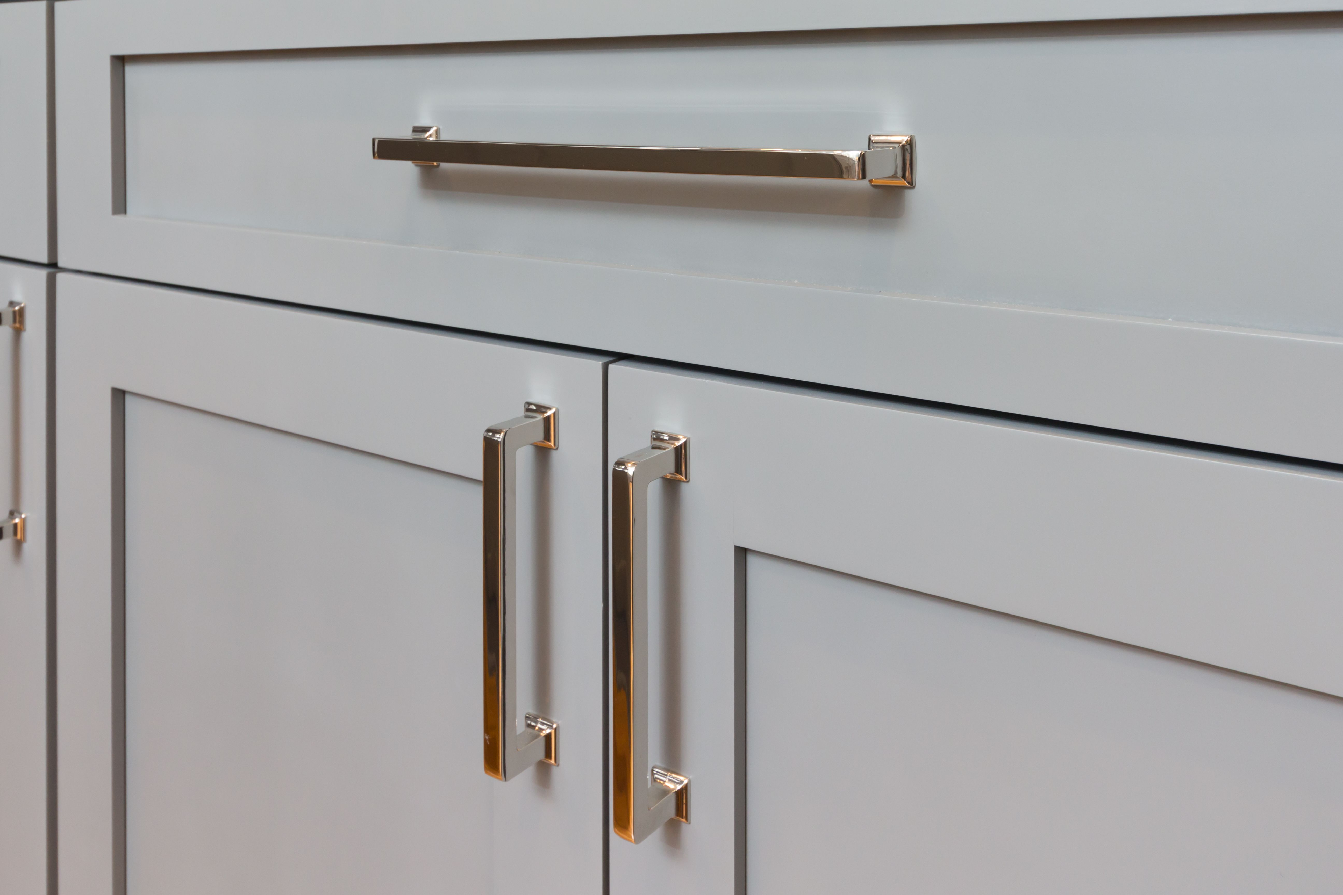 gray shaker cabinets with silver cabinet handles   CCFF Cabinetry ...