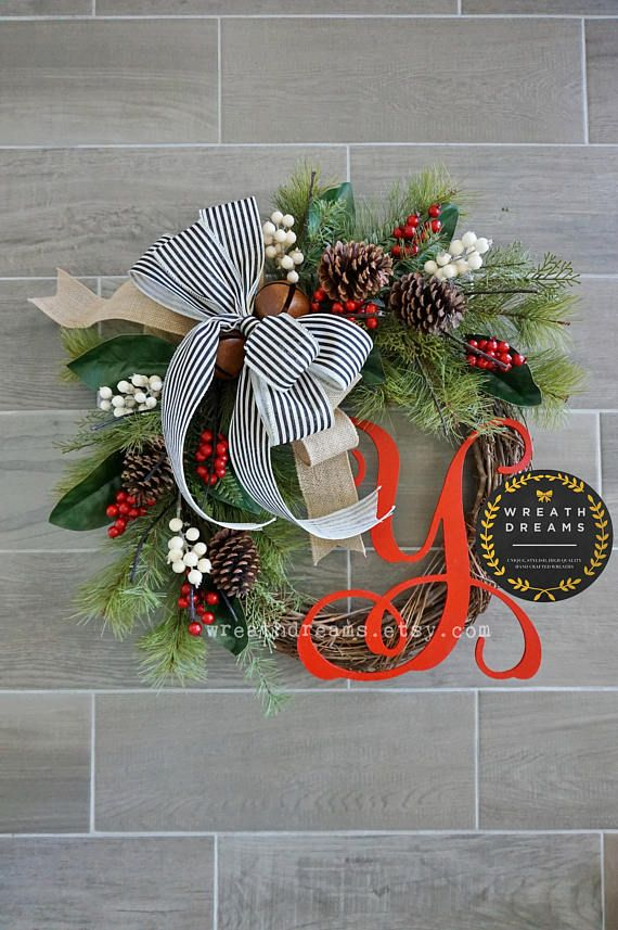 80 Alluring Front Door Designs To Refine Your Home: LIMITED QTY Christmas Grapevine Wreath. Christmas Wreath. (With Images)