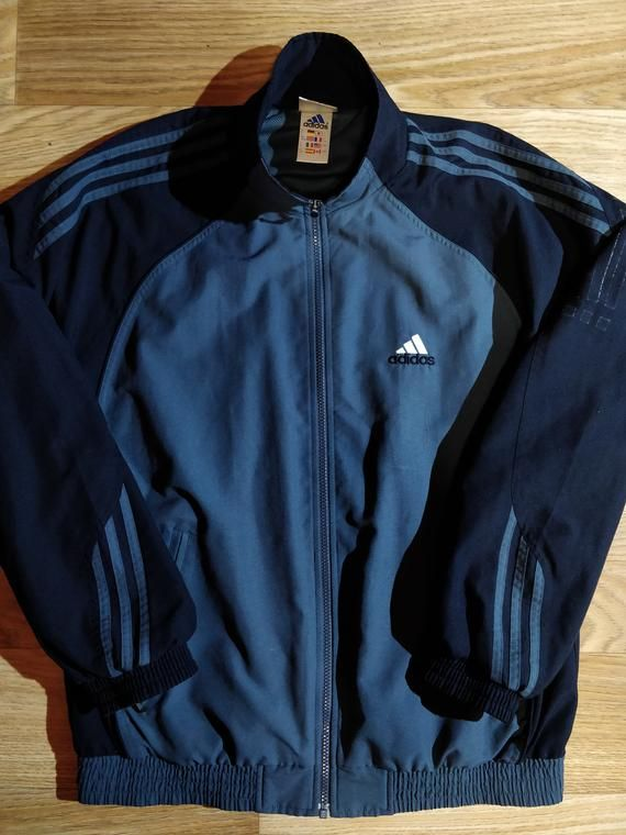 90dc2e99d4f3a Adidas 90's Vintage Mens Tracksuit Top Jacket Graphite Gray Navy ...