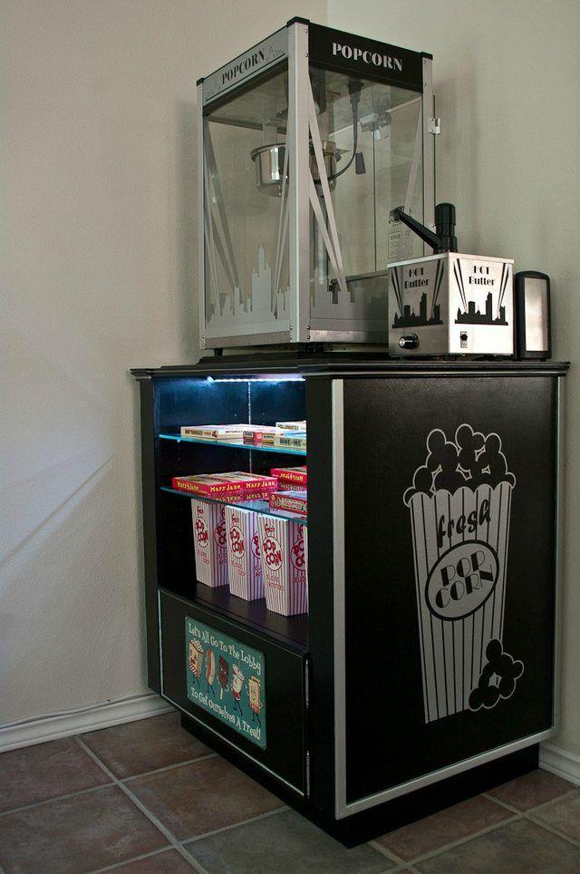 Diy Concession Popcorn Machine Stand At Home Movie Theater Movie Room Decor Movie Room