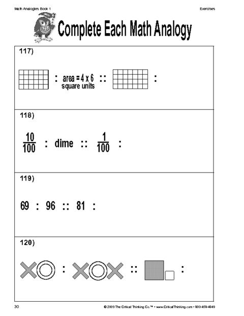 Math Analogies   School - Worksheets   Pinterest