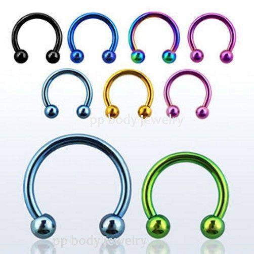 "2pcs 16G 1//4/"" Titanium Anodized Steel Eyebrow Ear Tragus Helix Cartilage Barbell"