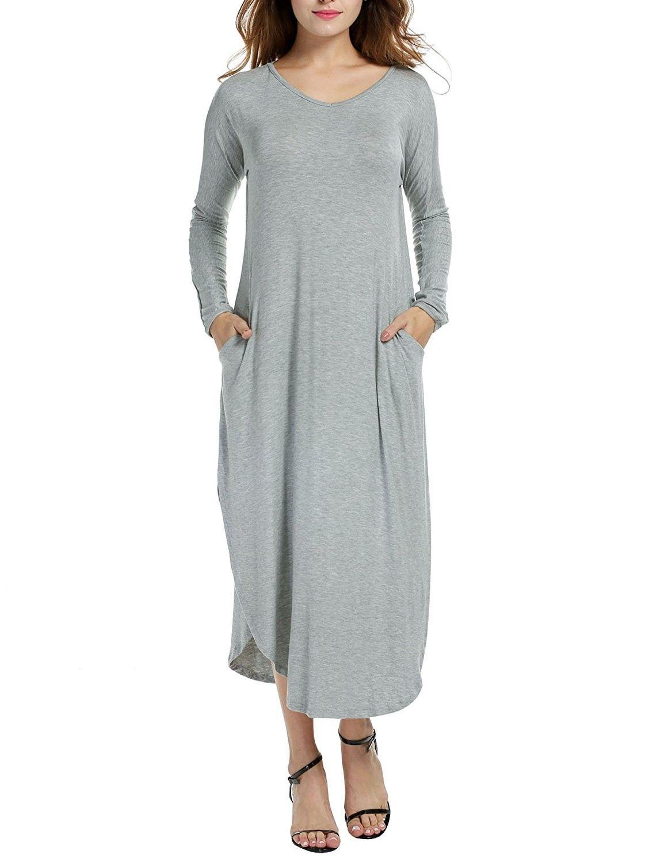 Womenus solid long sleeve pocket loose casual maxi dress plus grey