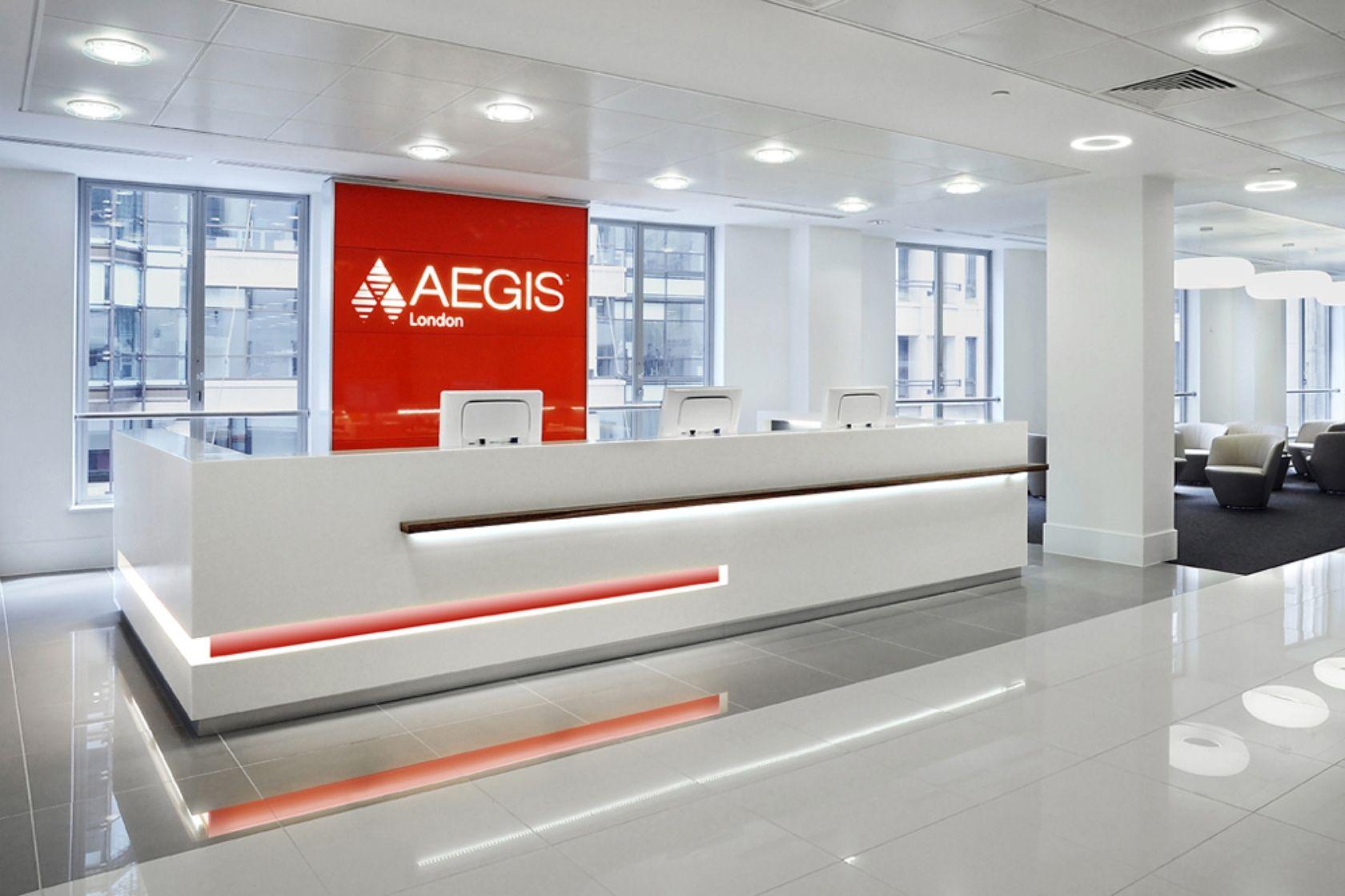 modern office reception design. Office Reception Design Ideas Interior Modern Aegis London Insurance With Sleek White Receptionist Desk And Orange Accent