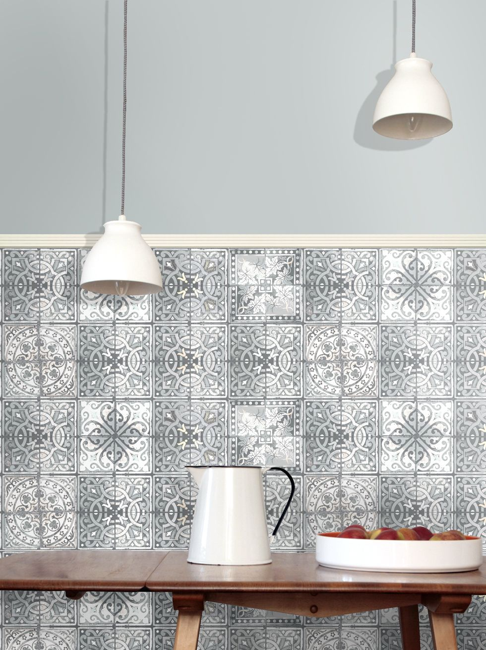 Tiles Decor Mauritius Patchwork Grey Paper Tiles Wallpaper  Fabric And Wallpaper