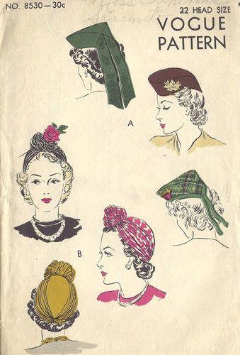 1940s Vintage VOGUE Sewing Pattern HATS (R130) | VINTAGEMODE ...