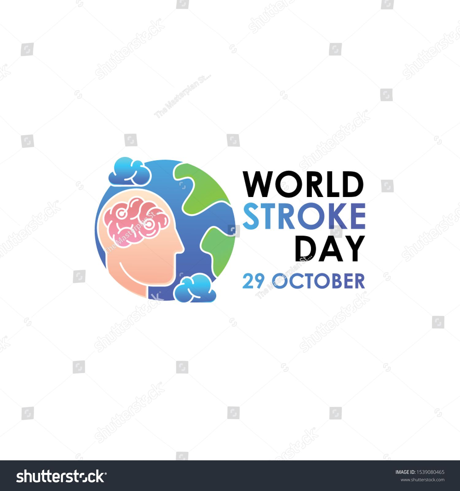 World Stroke Day Vector Logo Poster Illustration Of World Stroke Day On October 29th Health Care Awareness C World Stroke Day Vector Logo Awareness Campaign