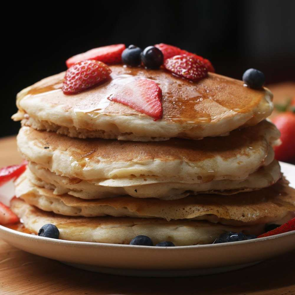 The Fluffiest Vegan Pancakes Recipe By Tasty Recipe Fluffy Vegan Pancakes Food Vegan Pancake Recipes