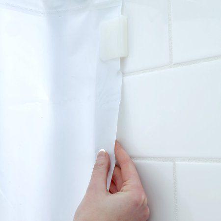 SlipX Solutions Shower Curtain Splash Clips White