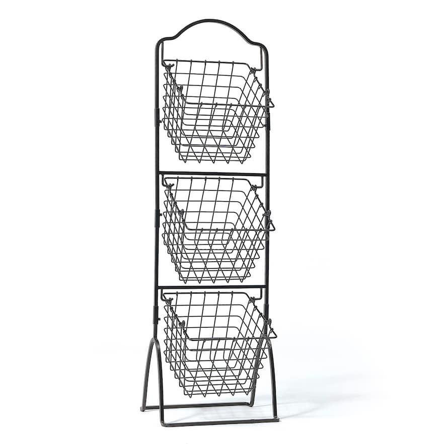 Gourmet Basics General Store 3 Tier Market Storage Basket Stand Kohls In 2020 Fruit Storage Metal Baskets Bread Display
