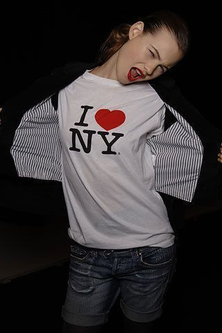 Behati Prinsloo sports an I Love New York T-Shirt on the town.  Famous stars wearing I Love NY shirts support New York City!  Available at http://www.nycwebstore.com/i-love-ny/