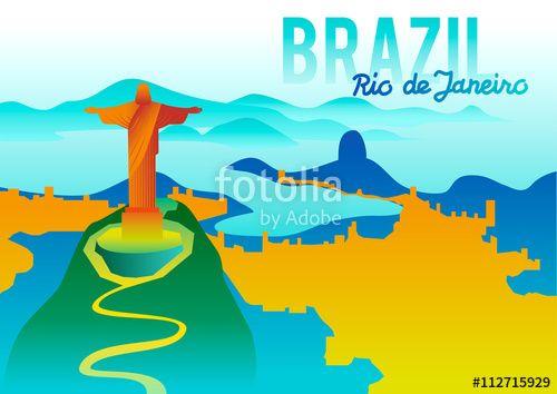 Vector: Rio de Janeiro cityscape silhouette. Brazil ...