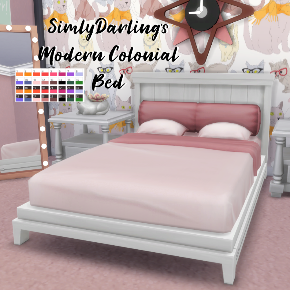 SimlyDarling Modern Colonial Bed (The Sims 4