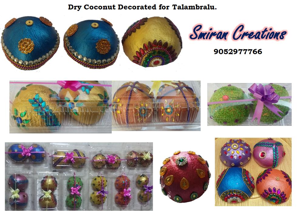 Dry coconut decorated for talambralu in telugu marriage ritual