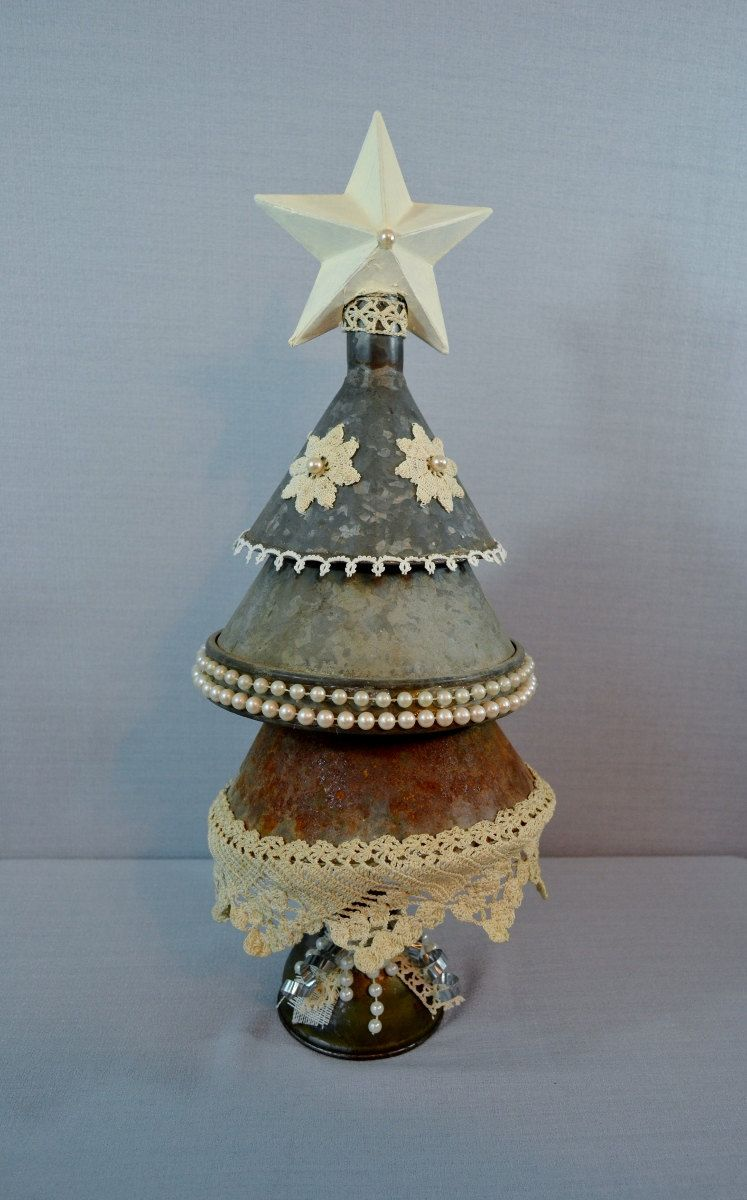 Metal Christmas Tree Vintage Funnels Lace Jewelry Oil Can Etsy Metal Christmas Tree Christmas Tree Star Tree Topper