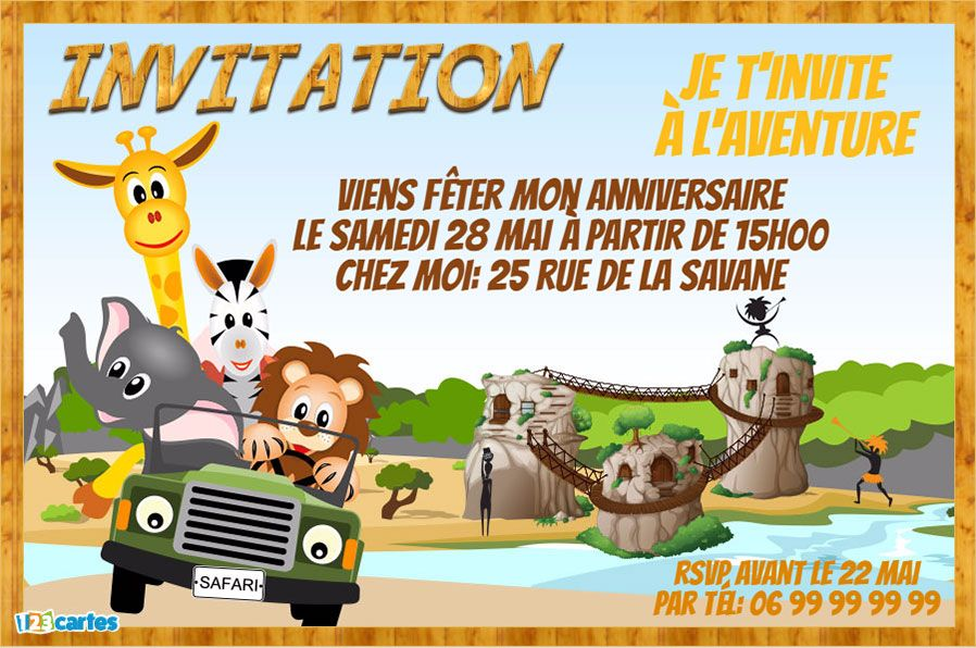 Invitation Anniversaire Safari Pour Enfants à Personnaliser En Ligne