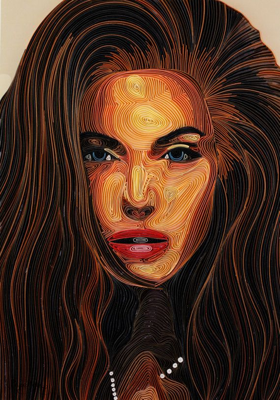 Angelina Jolie Portrait Handmade Quilling Paper by
