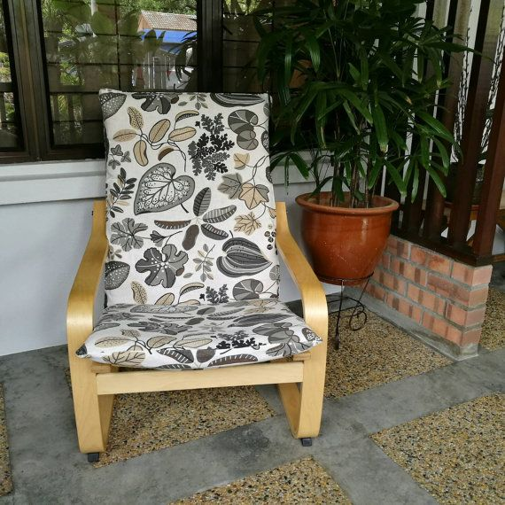 Ikea Poang Chair Cushion Cover Leaf Print Ikea Poang Chair