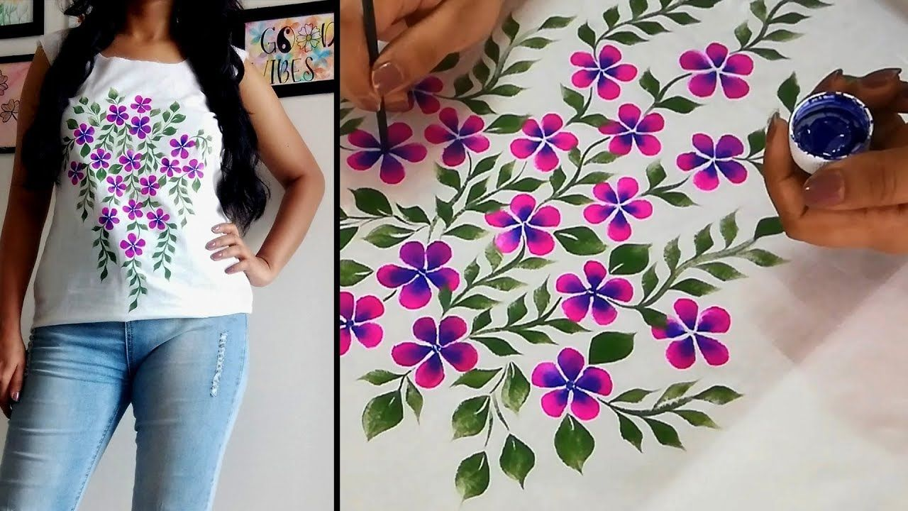 Fabric Painting Design On Top Kurti Flower Print Hand Painted