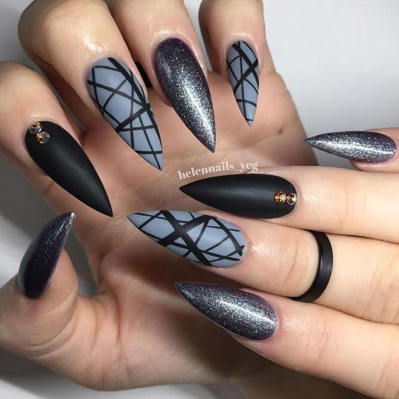 27 Cool Black Stiletto nail designs for your inspiration;black Halloween nails  design. - 27 Cool Black Stiletto Nail Designs To Try Now Nail Art Designs