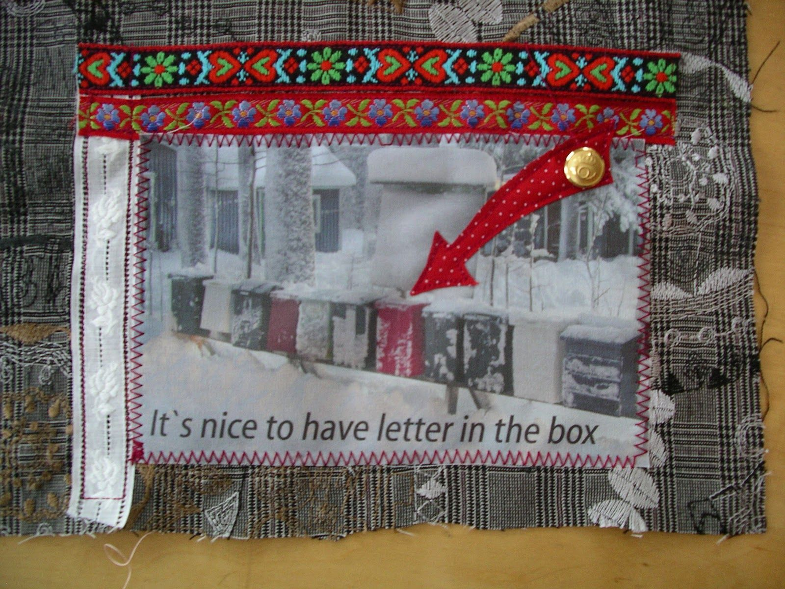 Postcard from Lena in Sweden, made for the #diypostcardswap 2012.