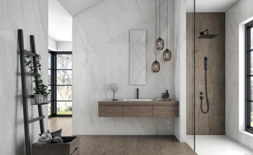 salle de bain carrelage aspect marbre