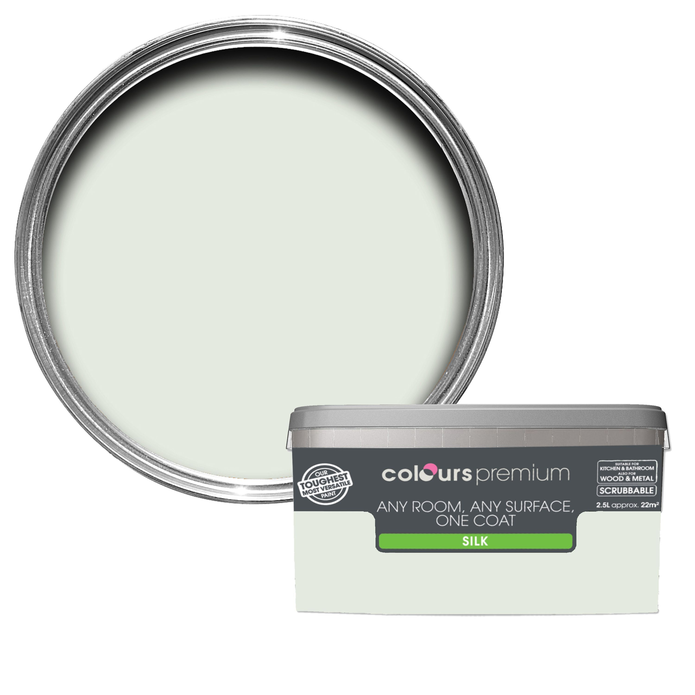 Colours Premium Cucumber Mist Silk Emulsion Paint 2 5l Departments Diy At B Amp Q B Q Colours Painting