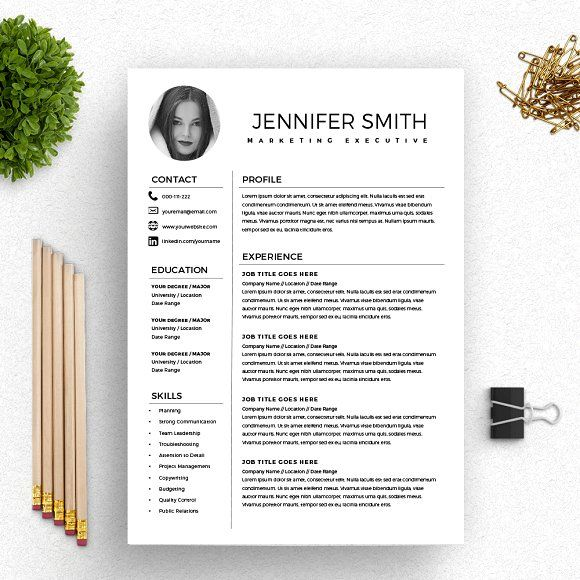 Resume Template  Cv With Photo By Kingdom Of Design On