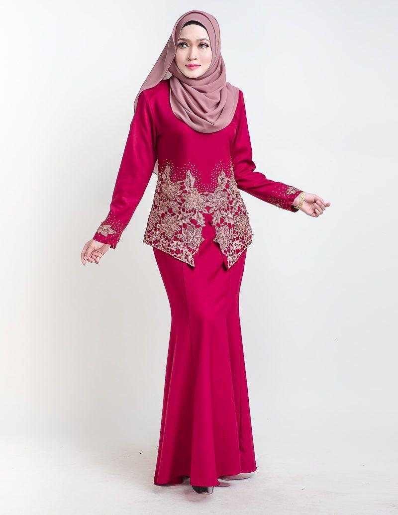 Baju Kurung Moden Pendek Untuk 2016 Sereni Red Ini Bakal Menyerlahkan Kehadiran Anda Dengan