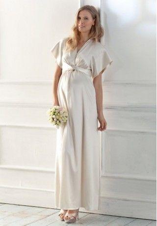 737115d526819 Satin V-Neck Empire A-Line Long Maternity Wedding Dress with Short Sleeves  - Bride - WHITEAZALEA.com