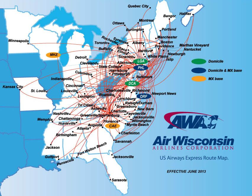 US Airways Express - Air Wisconsin route map | Map ... on hainan airlines route map, vanguard airlines route map, southwest airlines route map, sun country route map, united airlines route map, qantas airlines route map, frontier airlines route map, british airways route map, american airlines route map, hawaiian airlines route map, airtran route map, air india route map, skywest airlines route map, delta route map, air berlin route map, jetblue route map, iberia route map, alaska airlines service map, allegiant airlines route map,