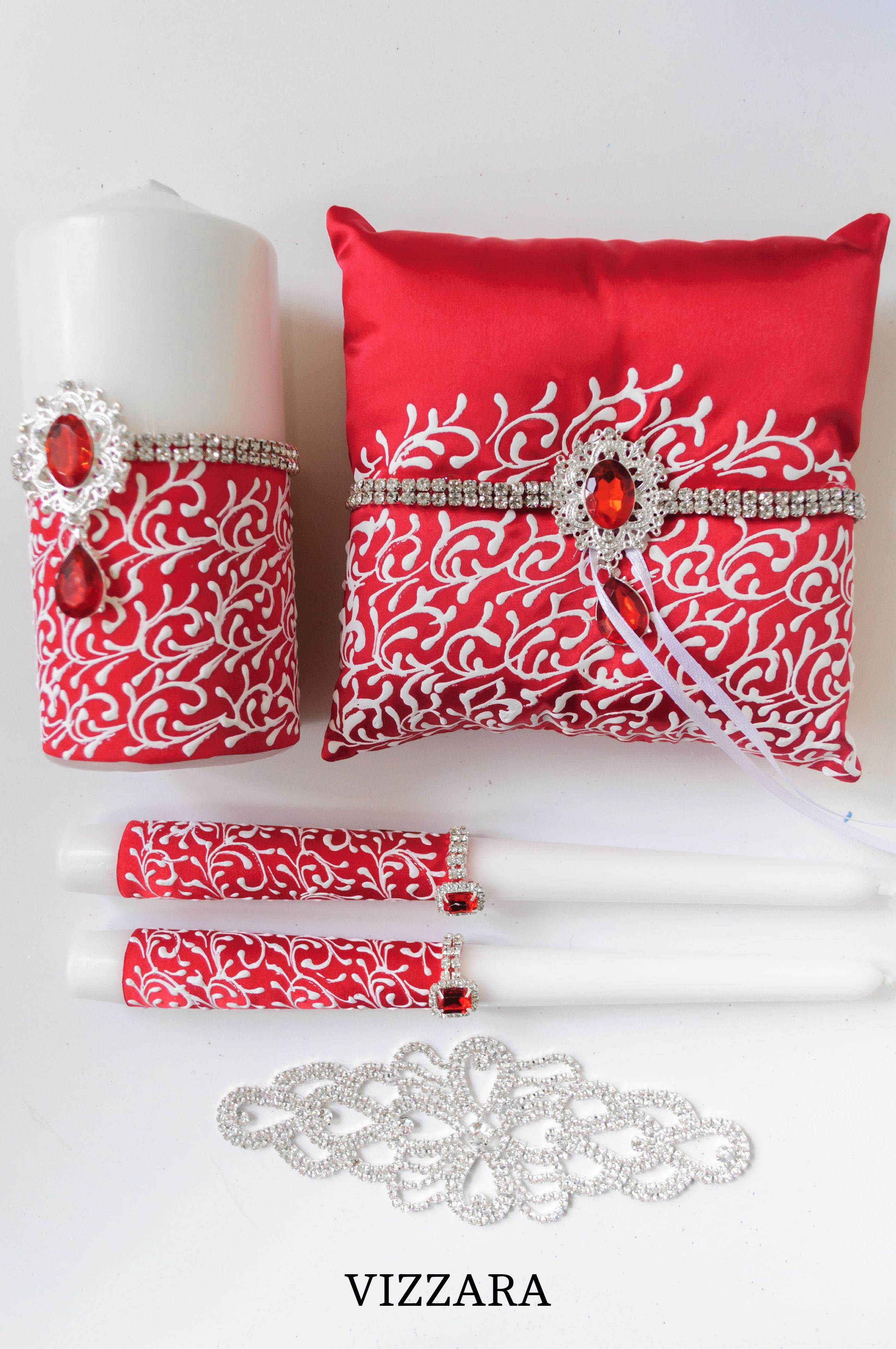 Set Red and White HAND-Painted Wedding cake server sets Wedding card ...
