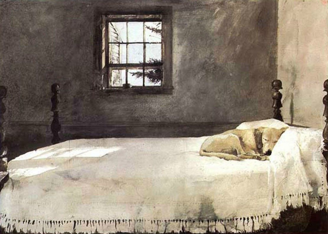 Andrew Wyeth Master Bedroom 1965, watercolour ""